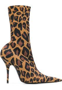 Balenciaga Bota 'Knife' Com Estampa Leopardo - Preto