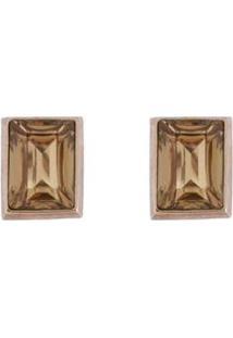 Brinco Armazem Rr Bijoux Quadrado Cristal Dourado - Feminino