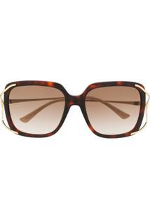 Gucci Eyewear Óculos De Sol Quadrado - Marrom
