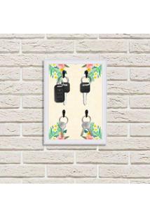 Porta Chaves Decorativo Estampado Luxo Floral Tropical Branco