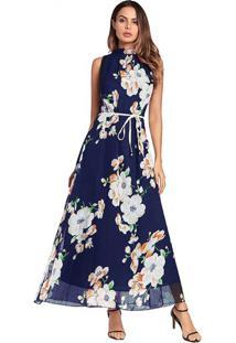 Vestido Longo Estampa De Flores Sem Manga - Azul Royal P
