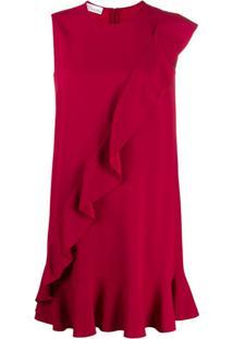 Redvalentino Vestido Reto Com Detalhe De Babados - Vermelho