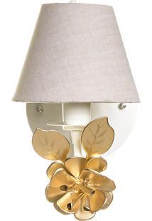 Arandela 1 Lâmpada Flor Grande Dourada Quarto Bebê Infantil Menina Menino Potinho De Mel Dourado