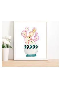 Quadro Decorativo Com Moldura Cacto Pink Branco - 30X40Cm