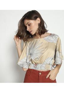 Blusa Cropped Com Elã¡Stico & Amarraã§Ã£O - Dourada & Brancmob