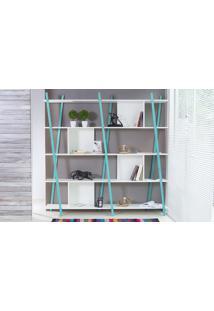 Estante Para Livros Preta 5 Prateleiras Com Pés De Madeira Cor Azul - Sue 180X38X180 Cm