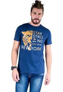 Camiseta Mister Fish Estampado Stay Strong Ney York City Masculina - Masculino-Marinho