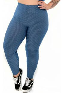 Calça Legging Básica Plus Size Hot Pants Azul
