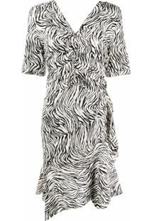 Isabel Marant Vestido Franzido Com Estampa De Zebra - Neutro