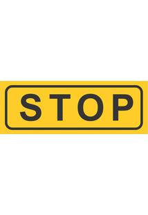 """Placa Decorativa """"Stop""""- Amarela & Preta- 10X30Cm"""