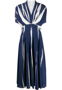 Paul Smith Vestido Evasê Com Listras - Azul