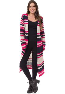 Cardigan Pink Tricot Longo Listrado Pink/Azul Marinho