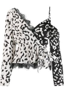 Self-Portrait Blusa Animal Print Com Transpasse - Neutro