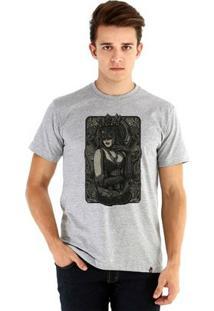 Camiseta Ouroboros Manga Curta Queen - Masculino-Cinza