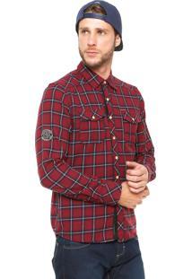 Camisa Gangster Xadrez Vinho