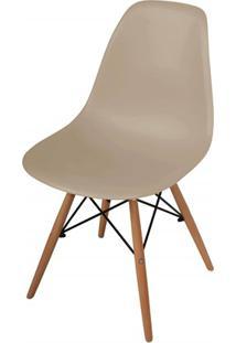 Cadeira Polipropileno Com Pés De Madeira 82X47Cm Cinza