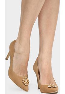 Scarpin Couro Shoestock Salto Alto Pedraria - Feminino-Nude