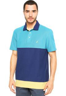Camisa Polo Nautica Bicolor Azul