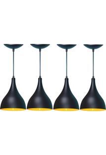 Kit 04 Luminárias Pendente Gota Em Alumínio Preto E Amarelo