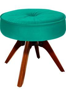 Puff D'Rossi Decorativo Julia Redondo Suede Verde Tiffany Com Base Giratória De Madeira