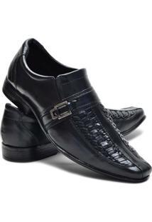 Sapato Social Couro Leoppe Masculino - Masculino-Preto