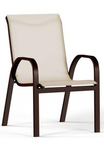 Cadeira De Alumínio Para Jardim Sauípe Marrom E Bege