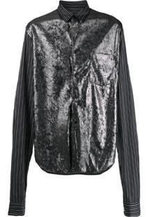 Comme Des Garçons Homme Plus Metallic Panel Shirt - Preto