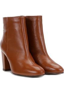 Bota Couro Cano Curto Shoestock Básica Salto Grosso Feminina - Feminino-Marrom