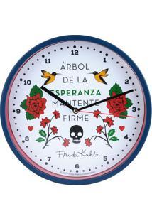 Relógio De Parede Frida Kahlo®- Branco & Azul Escurourban