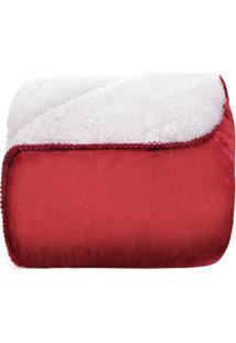 Manta Cobertor Sherpa Pele De Carneiro Dupla Face Casal Vermelho - Tessi