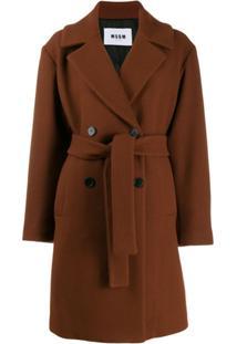 Msgm Trench Coat Com Cinto - Marrom
