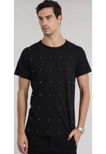 Camiseta Com Estrelas Aplicadas Preta