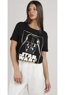 Blusa Feminina Darth Vader Star Wars Metalizada Manga Curta Decote Redondo Preta