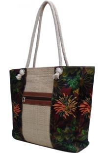 Bolsa De Palha Artestore Praia Com Estampa Floral E Alça De Cordão
