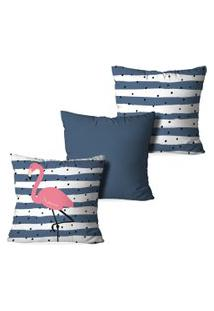 Kit 3 Capas Para Almofadas Decorativas Love Decor Flamingos Premium Azul