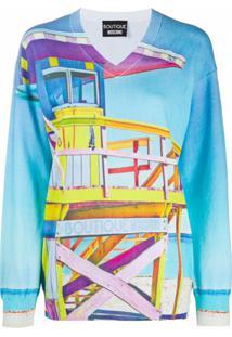 Boutique Moschino Suéter Com Estampa De Praia - Azul