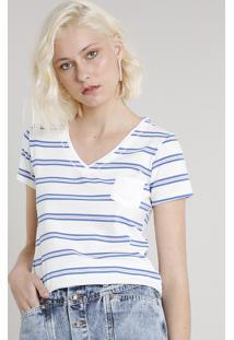 Blusa Feminina Básica Listrada Com Bolso Manga Curta Decote V Off White