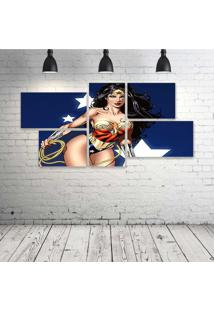Quadro Decorativo - Wonder-Woman-Beautiful - Composto De 5 Quadros - Multicolorido - Dafiti