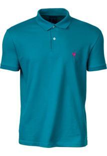 Camisa Polo Made In Mato Piquet Logo Turquesa
