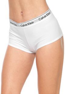 Calcinha Calvin Klein Underwear Boxer Logo Branca