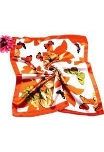 Lenço De Seda Artestore Estampa Floral Core Vibrantes Feminino - Feminino-Laranja+Vermelho