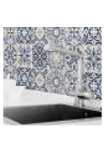 Adesivo De Azulejo Para Cozinha Azul Real 10X10 Cm 100Un
