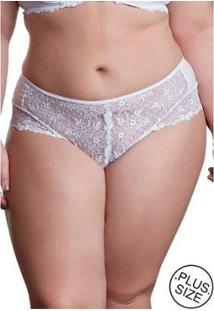 Calcinha Fio Renda Frontal Dukley Lingerie Plus Size - Feminino-Branco