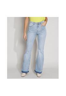 Calça Jeans Feminina Destroyed Cintura Alta Flare Com Barra Desfiada Azul Claro