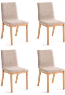 Conjunto Com 4 Cadeiras De Jantar Dora Lisa Dourado E Carvalho
