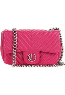 Bolsa Couro Dumond Mini Bag Alça Corrente Matelassê Feminina - Feminino-Pink