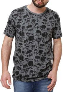 Camiseta Manga Curta Masculina Local Cinza Escuro