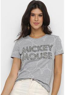 Blusa Disney Vintage Mickey Mouse Paetê Feminina - Feminino-Mescla