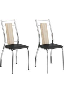 Kit 2 Cadeiras 1720 Anis/Preto Cromado - Carraro Móveis