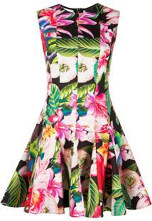 Philipp Plein Vestido Com Estampa Floral - Preto